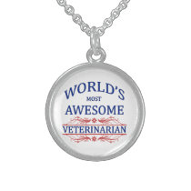 World's Most Awesome Veterinarian Sterling Silver Necklace