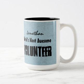 World's Most Awesome VOLUNTEER Blue Grunge V16 Two-Tone Coffee Mug