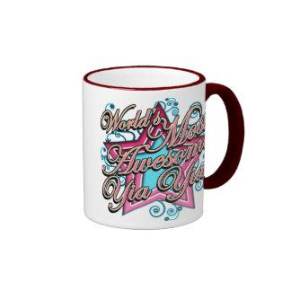 Worlds Most Awesome Yia Yia Ringer Coffee Mug