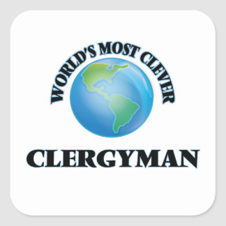 World's Most Clever Clergyman Square Sticker