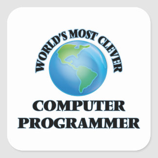 World's Most Clever Computer Programmer Square Sticker
