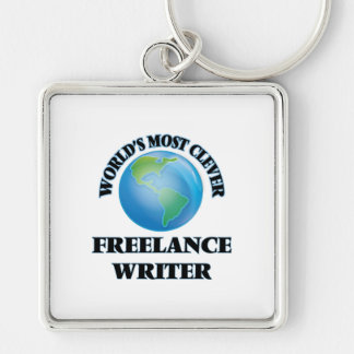 World's Most Clever Freelance Writer Silver-Colored Square Keychain