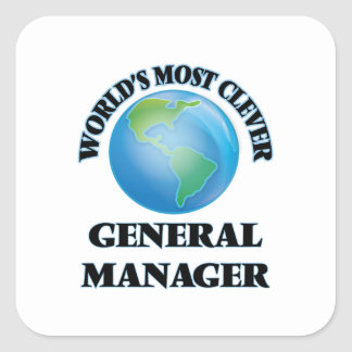 World's Most Clever General Manager Square Sticker