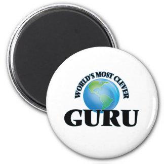 World's Most Clever Guru 2 Inch Round Magnet