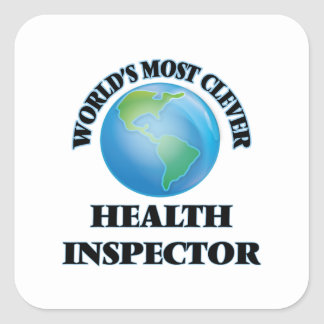 World's Most Clever Health Inspector Square Stickers