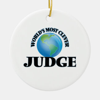 World's Most Clever Judge Double-Sided Ceramic Round Christmas Ornament