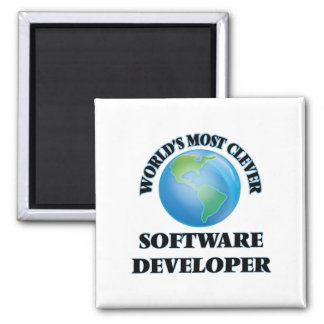 World's Most Clever Software Developer 2 Inch Square Magnet