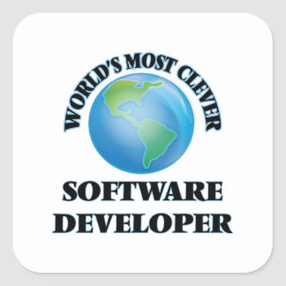 World's Most Clever Software Developer Square Sticker
