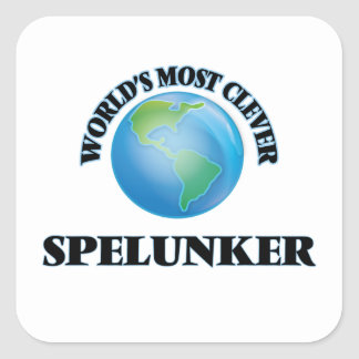 World's Most Clever Spelunker Square Stickers