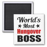 World's Most Hungover Boss Funny Drinking 2 Inch Square Magnet