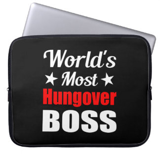 World's Most Hungover Boss Funny Drinking Laptop Sleeves