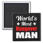 World's Most Hungover Man, Fridge Magnet [Black]