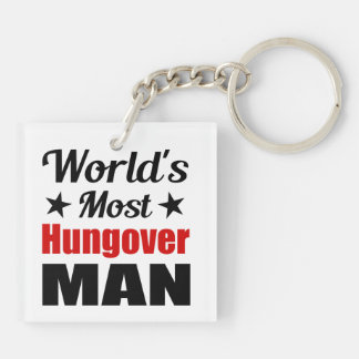 World's Most Hungover Man Funny Drinking Keychain