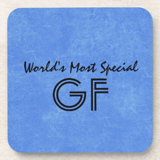 World's Most Special Godfather Blue Background Coaster