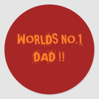 """""""Worlds No 1 Dad"""">Fathers Stickers"""
