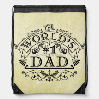 World's Number One Dad Vintage Flourish Drawstring Bag