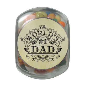 World's Number One Dad Vintage Flourish Jelly Belly Candy Jar
