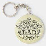 World's Number One Dad Vintage Flourish Basic Round Button Keychain