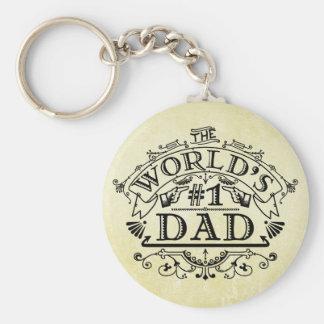 World's Number One Dad Vintage Flourish Keychain