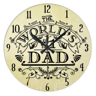 World's Number One Dad Vintage Flourish Large Clock