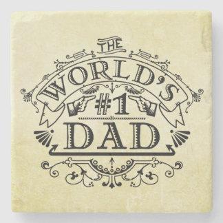 World's Number One Dad Vintage Flourish Stone Coaster