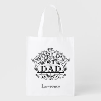 World's Number One Dad Vintage Personalized Reusable Grocery Bag