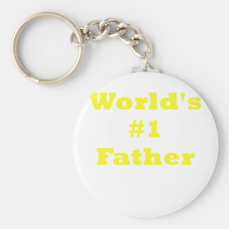 Worlds Number One Father Basic Round Button Keychain