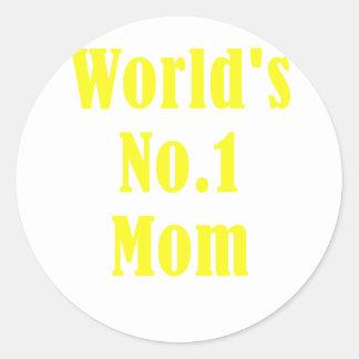 Worlds Number One Mom Classic Round Sticker