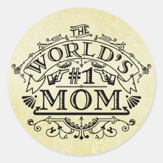 World's Number One Mom Vintage Flourish Classic Round Sticker