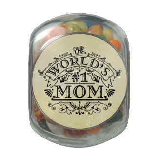 World's Number One Mom Vintage Flourish Jelly Belly Candy Jars
