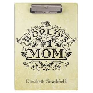 World's Number One Mom Vintage Personalized Clipboard