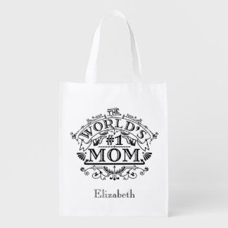 World's Number One Mom Vintage Personalized Reusable Grocery Bags