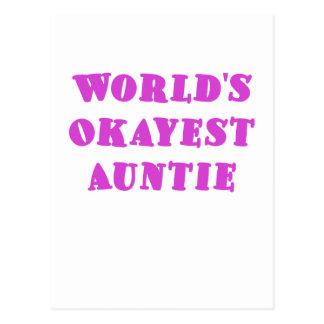Worlds Okayest Auntie Postcard