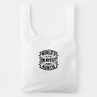 World's Okayest Auntie Reusable Bag