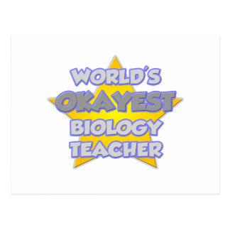 World's Okayest Biology Teacher .. Joke Postcard