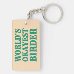 Rectangle Keychain (double-sided) with World's Okayest Birder design
