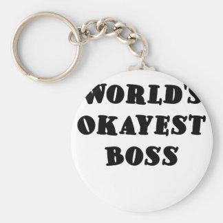 Worlds Okayest Boss Basic Round Button Keychain
