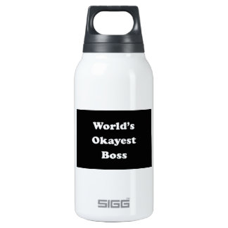 World's Okayest Boss Humorous Work Funny Fun Insulated Water Bottle