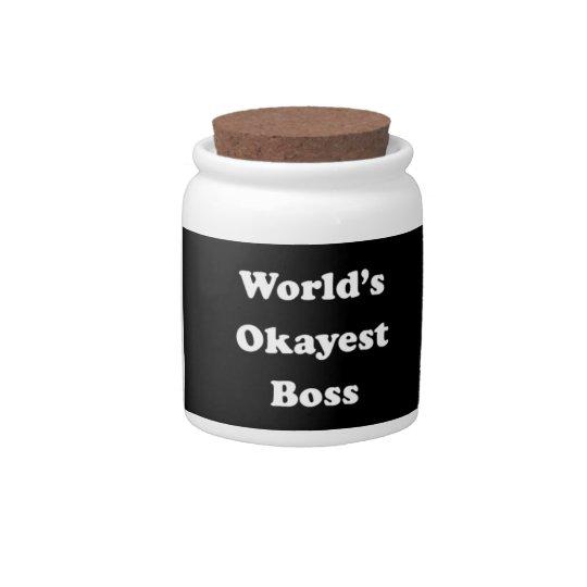 world s okayest boss humorous work gift funny fun candy jar zazzle com