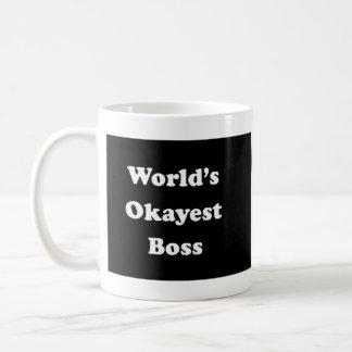 World's Okayest Boss Humorous Work Gift Funny Fun Classic White Coffee Mug