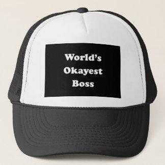 World's Okayest Boss Humorous Work Gift Funny Fun Trucker Hat