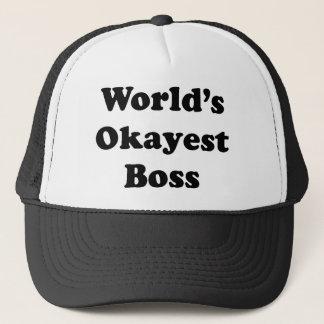 Worlds Okayest Boss Trucker Hat
