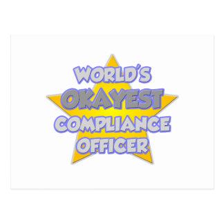 World's Okayest Compliance Officer .. Joke Postcard