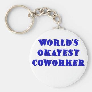 Worlds Okayest Coworker Basic Round Button Keychain