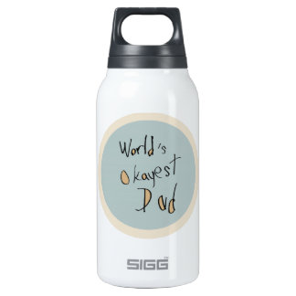 World's Okayest Dad - Brown and Blue Insulated Water Bottle