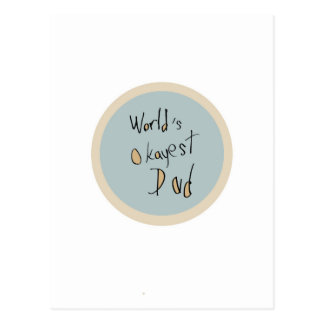 World's Okayest Dad - Brown and Blue Postcard