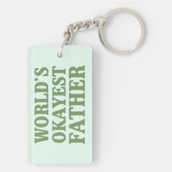 World's Okayest Father Rectangle Keychain (double-sided)