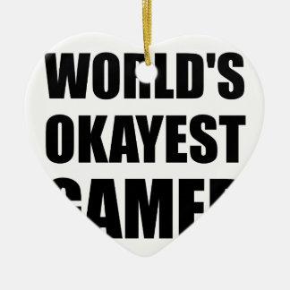 World's Okayest Gamer Ceramic Ornament