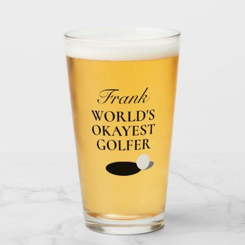 World's Okayest Golfer beer glass gift for golfer