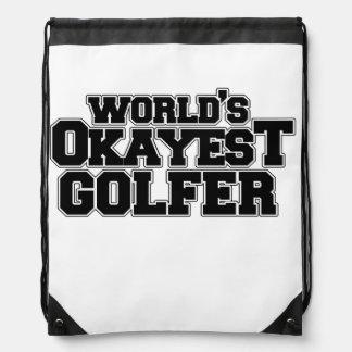 World's okayest golfer drawstring bag